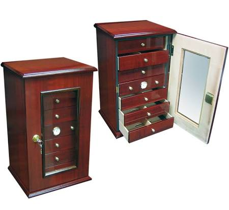THE CHARLESTON 150 Ct. Gloss Cherry Humidor w/ 7 Drawers, Door & Lock