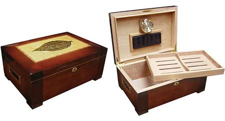 THE STETSON 150 Ct. High Gloss Humidor w/ Tray & Tobacco Leaf Inlay