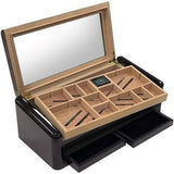 THE BALDWIN 150 Ct. High Lacquer Jet Black Humidor w/ Divider System & Double Drawers