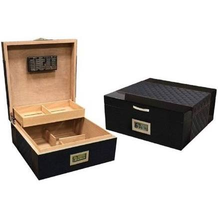 THE HAMPTOM 200 Ct. Lacquer Humidor w/ Diamond Stitched Leather Top