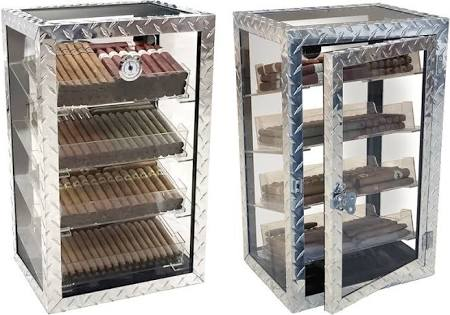 THE DIAMON PLATE 250 Count Diamond Plate Industrial Style Display Humidor w/ Acrylic Trays
