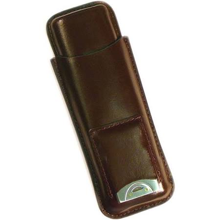 2 Cigar Leather Case w/ Cutter