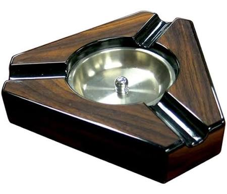 3 Cigar Dark Maple & Black Lacquer Triangular Ashtray