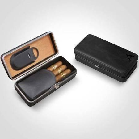 3 Cigar Folding Leather Travel Case w/ Cutter