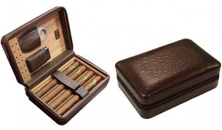 THE MANHATTAN 4-8 Ct. Travel Cigar Humidor w Humidifier, Cutter, Lighter & Zipper Closure