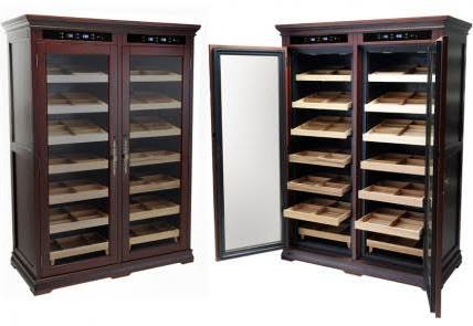THE REAGAN 4000 Ct. Electric Climate/Humidity Controlled Cabinet (Dual Zone) (Dark Cherry)