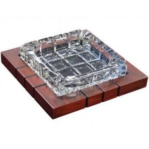 4 Cigar Cross-Hatched Crystal Ashtray on Wood Base