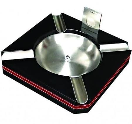 4 Cigar Wood Ashtray w/ Black Finish, Leather Trim & Cutter