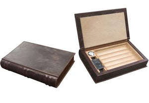 THE NOVELIST 5-10 Ct Leather Book Travel Humidor w/ Cutter, Humidifier & Hygro.