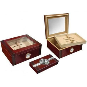 THE SOVEREIGN 50 Ct. 2-Tone Cherry & Rosewood Humidor Set w/ Ashtray