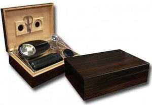 THE DAVENPORT 50 Ct. Ebony Humidor Gift Set w/ Matching Accessories
