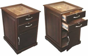THE SANTIAGO 700 Ct. Walnut End Table w/ Drawers & Digital Hygrometer