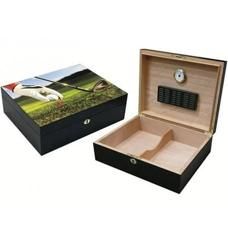 9-IRON 75 Ct. 3D Golf Scene Humidor w/ Lock & Key Set