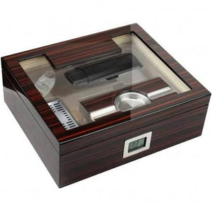 THE KENSINGTON 75 Ct. Cherry Ebony Lacquer Gift Set w/ External Digital Hygrometer