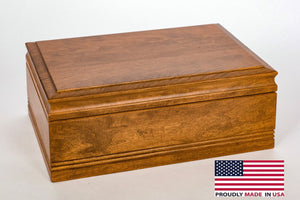WoodTop CannBisDor Humidor. Solid Maple with Rich MAHOGANY Finish, Large Size.