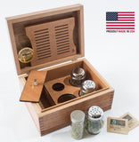 CANNBISDOR,  Solid Mahogany, MADE in USA, Humidity Controled CANNABIS Storage Chest