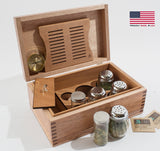 CANNBISDOR, LARGE  Solid Mahogany, MADE in USA, Humidity Controled CANNABIS Storage Chest w/ Decorative BASE