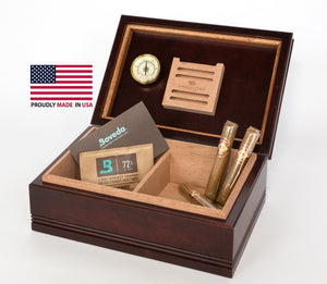 WoodTop Amish Cigar Humidor. Solid Maple with Rich MAHOGANY Finish, 75 Count Size.  Amish Crafted and Made in USA!