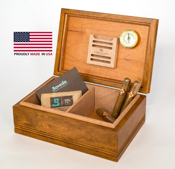 WoodTop Amish Cigar Humidor. Solid Maple with English WALNUT Finish, 75 Count Size. Amish Crafted and Made in USA!