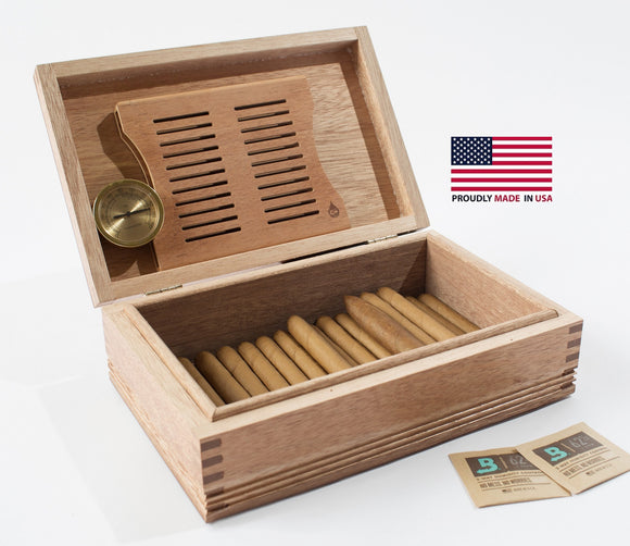 Americana Solid Mahogany Humidor 50 Count.  MADE in USA by New England Craftsmen.