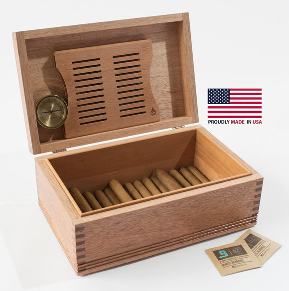 LARGE Americana Solid Mahogany Humidor; 75 Count.  MADE in USA