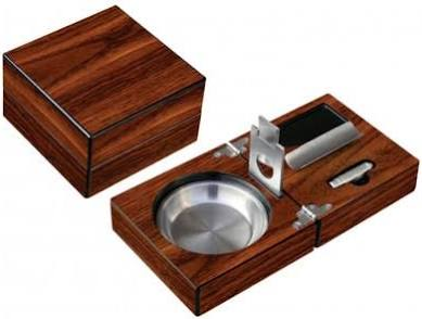High Gloss Walnut Folding Ashtray Set w/ Accessories