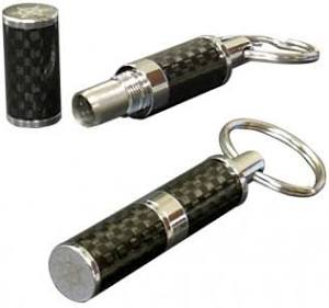 Polished Carbon Fiber & Chrome Bullet Cigar Cutter in Gift Box