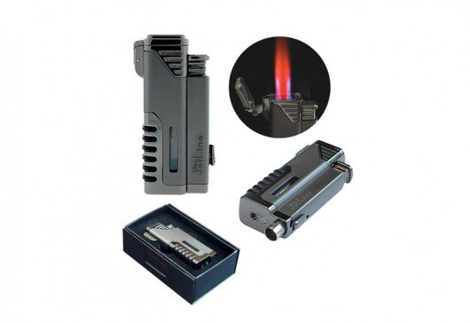 THE GOTHAM Quad Torch (4 Flames) w Punch Cigar Cutter in Gift Box