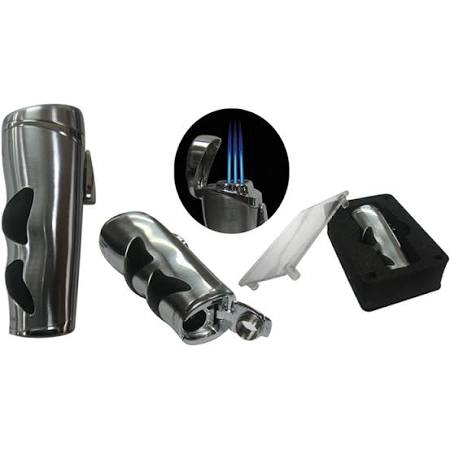 THE EVOLUTION Triple Flame Torch w/ Rubber Grip & Bullet Cigar Cutter - Gift Box