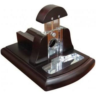 Walnut Desktop Guillotine Cigar Cutter w/ Tobacco Catch Tray