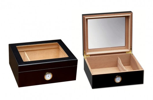 The Chalet Glasstop - 25 to 50 ct Humidor with External Hygrometer Black