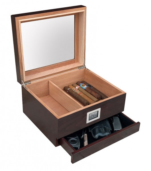 Chalet Glasstop 25 - 50 Count Humidor w/ Storage (Cherry)