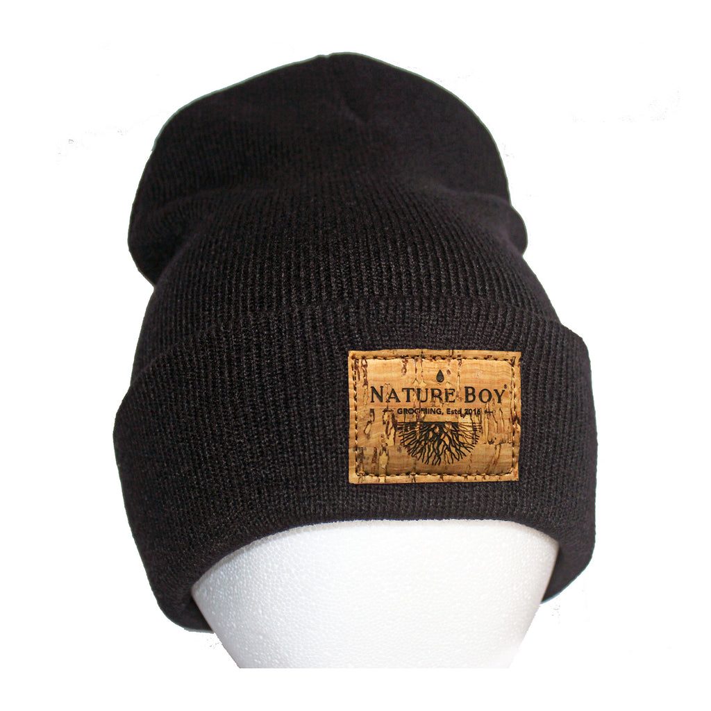 NATURE BOY Classic Beanie ii - Black & natural Cork