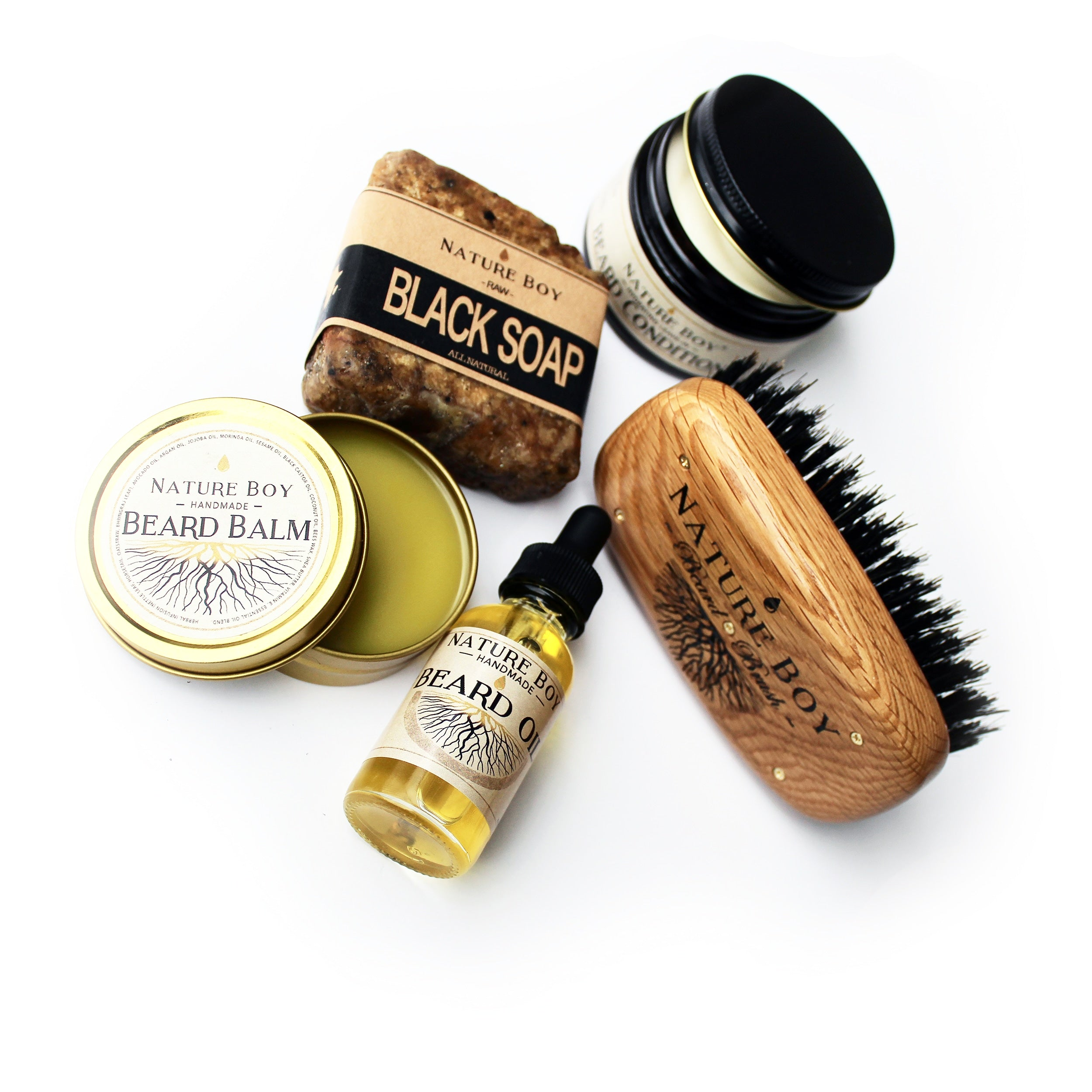 NATURE BOY Beardsman's Gift Set (w/ FIRM Bristle Brush)