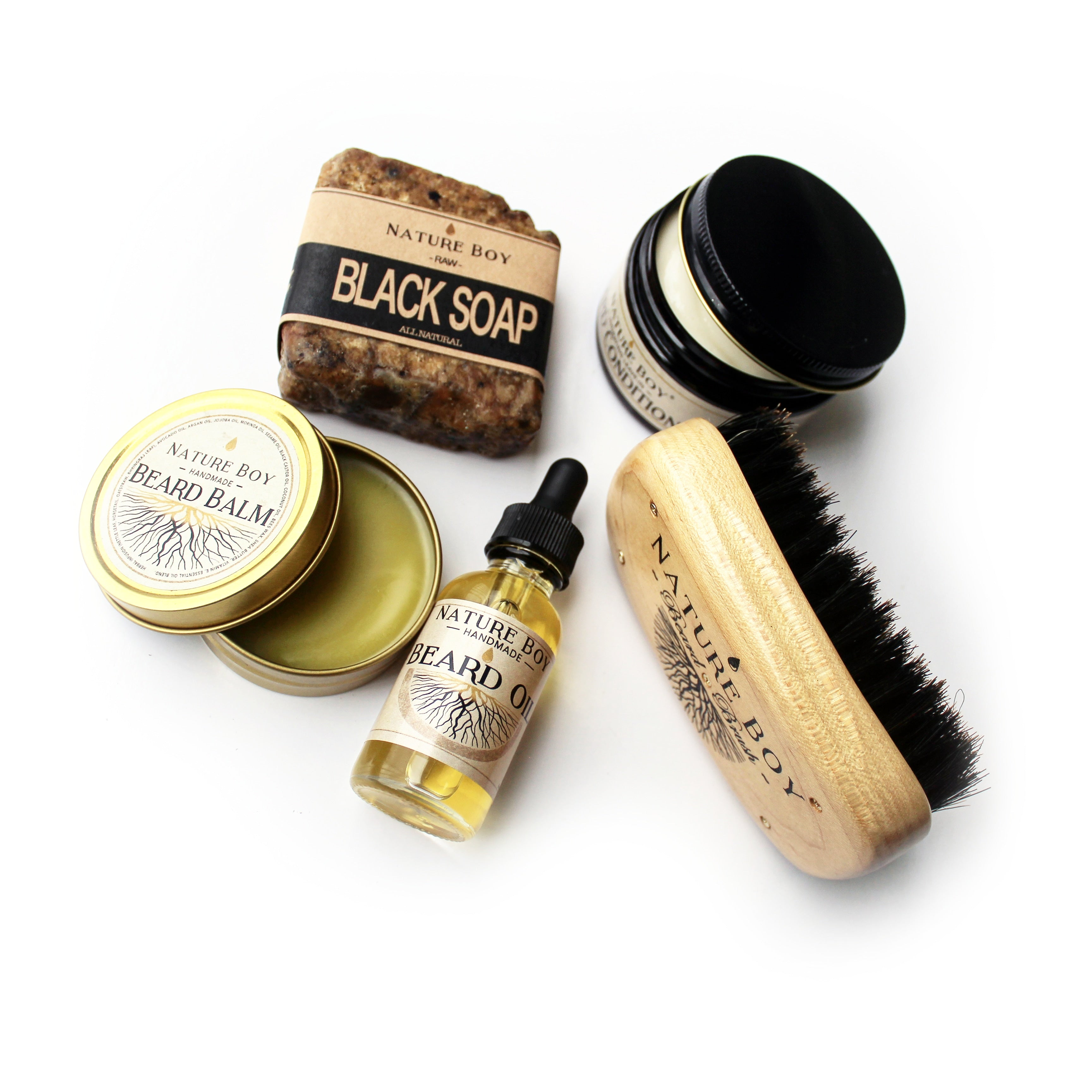 NATURE BOY Beardsman's Gift Set (w/ SOFT Bristle Brush)