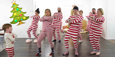 dancing people in striped pajamas