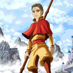 A girl turned into Avatar: The last air bender character. She is holding a rod, dressed like the man character and has an arrow on her forehead. She is standing high in the mountains, which are partially covered with clouds. You can see a blue castle somewhere in the background as well.