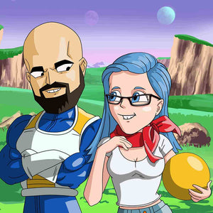 Man and woman both turned into Dragon Ball Z cartoon characters. They are standing next to each other, looking in the eyes and smiling. The man is holding his hands crossed, and the woman is slightly touching her chin. They both look in love with each other. Man is bald and the girl has blue hair. The surroundings are misty,  the sky is purple and two planets are visible, you can see hills and mountains in the background.