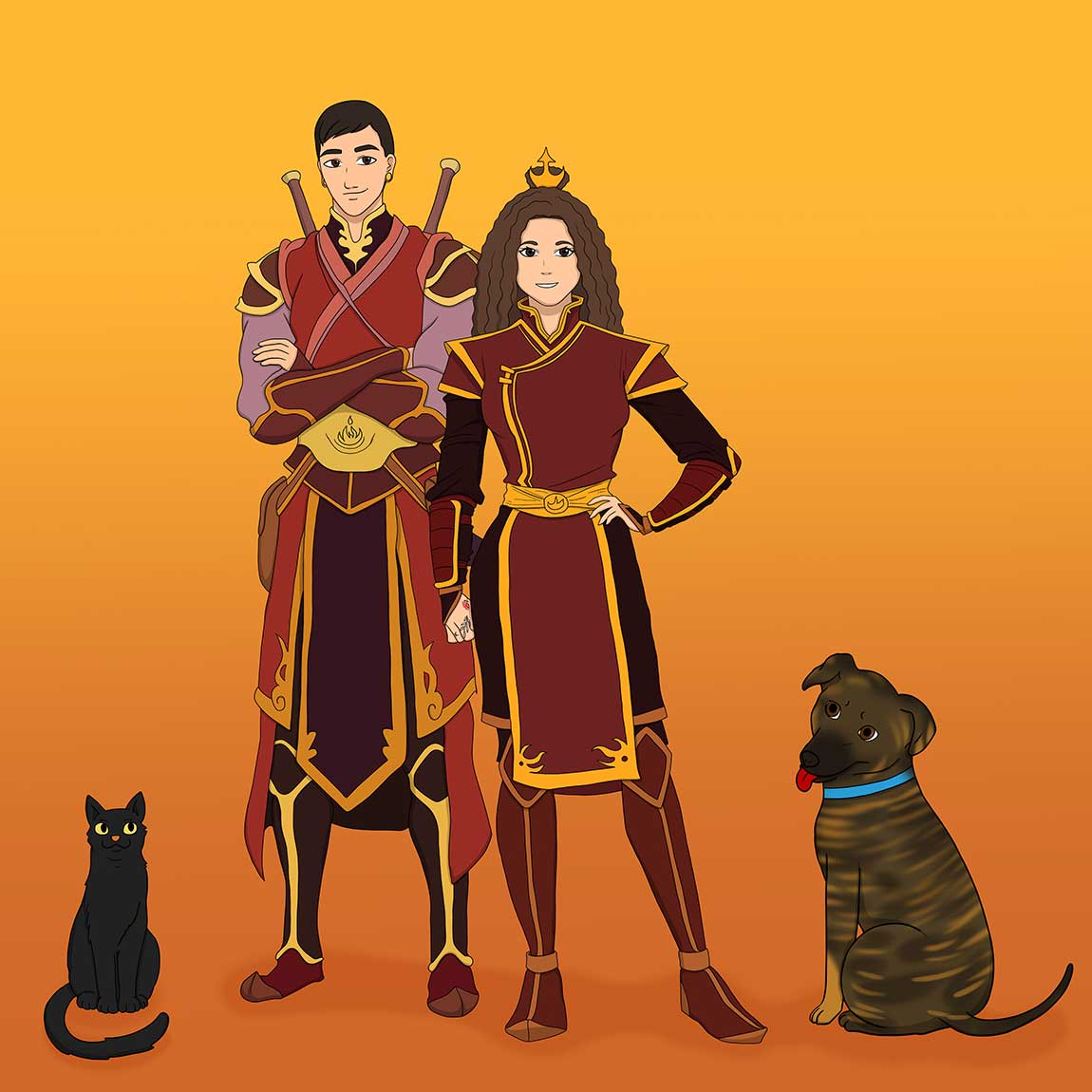 Man, woman and their pets cat and dog turned into Anime characters. They are dressed like Fire Nation in the Avatar: The Last Air Bender cartoon. The man is standing with his hands crossed, and the woman is holding one hand on her hip. The cat is all black looking seriously, and the dog looks friendly, has his tongue sticking out.