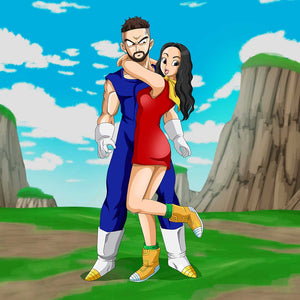 A couple turned into Dragon Ball Z characters. Woman is holding her hands around man's neck. She is looking excited and playful, but the man is looking confused. In the background there is a blue sky and hills.
