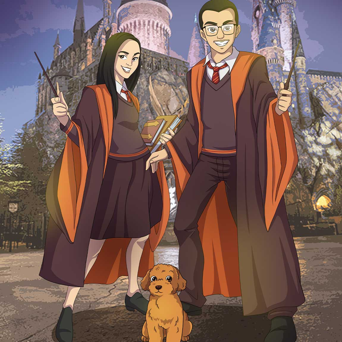 Young man, woman and their puppy turned into anime characters. They are dressed as Harry Potter characters. Both holding magical sticks, looking excited, smiling widely. The girl is also holding books in her other hand. The puppy is brown and he is standing still, looking viewer in the eyes with excitement.