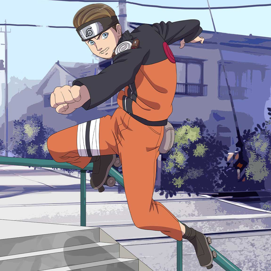 Young man turned into Naruto character. He is in his roller-blades going down the stairs handrail.