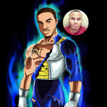 A strong masculine black man turned into Saiyan cartoon character. He is standing in Dragon Ball Z outfit with blue flames around him.