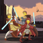 Two men and a boy turned into cartoon version of Star Wars characters. Each of them holding the blue sword and ready for a fight. They are dressed as Star Wars characters. Sunset background.