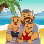 A family of three (mum, dad and a babygirl) turned into cartoonish bears. All standing together close to each other, and dad is holding the baby. All very happy and smiling. They are dressed as humans, but have bear ears, nose and body. They are in the beach with clear blue sky and water, coconut palm tree and sand. The location is Hawaii.