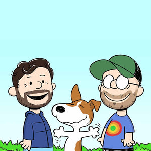 Two men and their dog turned into Peanut cartoons characters. All standing next to each other, smiling. The dog seems very excited and has his hands wide open. In the background is clear blue sky and short grass is visible.