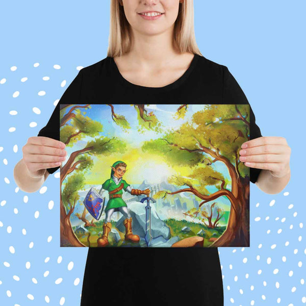 Get Animized cartoon portrait printed on canvas. Happy woman holding a 16×12 canvas print. The printed cartoon illustration contains your personalized portrait.