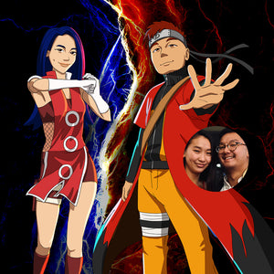 Anime style personalized cartoon illustration and an original photo of the two people who were turned into Naruto characters. They are both smiling, dressed in red, woman's hair is blue, man's hair is red. Standing in full confidence of themselves. In the background there are red flames and blue lightning.