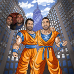 Cartoon illustration of two men turned into Saiyan cartoon characters and the original photo of them besides. In the illustration men are portrayed standing in confidence, happy, smiling, holding hand's on each other's shoulders. In the background you can see blue sky and Empire state building.