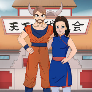 Saiyan cartoon illustration of the couple standing together dressed as Dragon Ball Z characters. The woman is shorter than the man. They are holding hands on each other back's, the woman is smiling slightly. In the background you can see an old Asian temple.